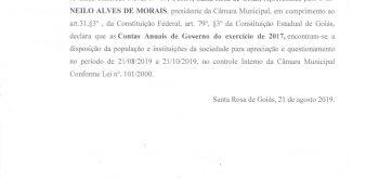 Edital de publicação n° 001/2019 declarando as contas anuais de governo do exercício de 2017.